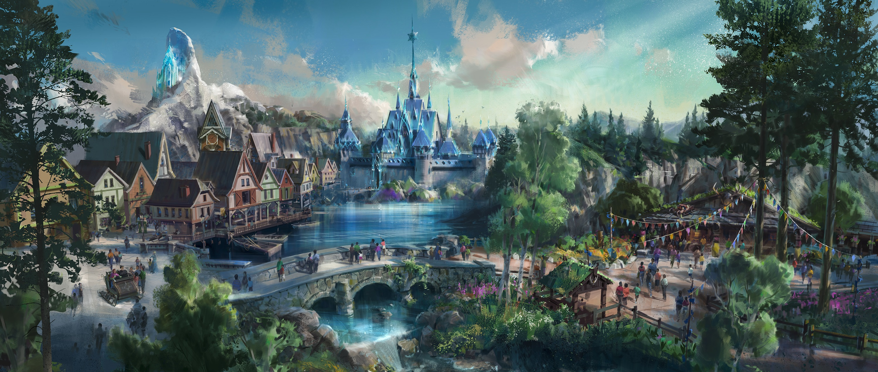"""In an undated handout image, an artist rendering of the planned """"Frozen"""" themed area at Hong Kong Disneyland, part of planned upgrades to the park. Hong Kong Disneyland, the Walt Disney Company's smallest theme park resort, which lost money amid declining attendance in 2015, will soon get $1.4 billion in enhancements as part of a colossal six-year growth plan."""